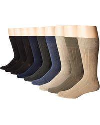 Ecco - 9-pack Bamboo Solid Dress Socks Multi (black (3)/navy/denim/charcoal/khaki/stone/olive) Men's Crew Cut Socks Shoes - Lyst