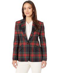 Lauren by Ralph Lauren - Tartan Twill Blazer (black/red Multi) Women's Jacket - Lyst