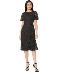 Lauren by Ralph Lauren - Dotted Floral Lace Marguerite Short Sleeve Day Dress (black/white) Women's Dress - Lyst