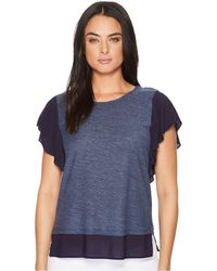 Two By Vince Camuto - Ruffle Sleeve Mixed Media Top - Lyst