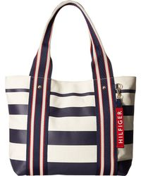 Tommy Hilfiger - Classic Tommy Shopper Painted Stripe Tote (tommy Navy) Tote Handbags - Lyst