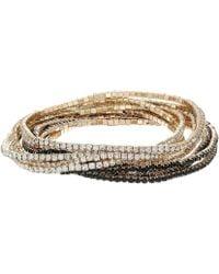 Guess - 10-piece Stone Stretch Bracelet Set (gold/jet) Bracelet - Lyst