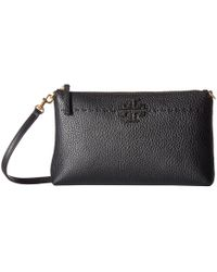 e6d4d41a3ae Tory Burch - Mcgraw Top Zip Crossbody (black) Cross Body Handbags - Lyst