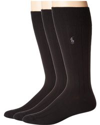 Polo Ralph Lauren - 3-pack Supersoft Rib (navy) Men's Crew Cut Socks Shoes - Lyst