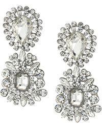 Nina - 2 Part Crystal Cluster Hanging Earrings (rhodium/crystal) Earring - Lyst