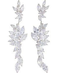 Nina - Layered Marquise Cz Statement Earrings (rhodium/white Cz) Earring - Lyst