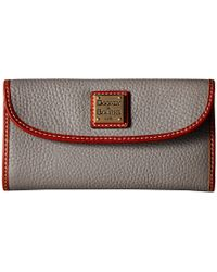 Dooney & Bourke - Pebble Continental Clutch (stone/tan Trim) Clutch Handbags - Lyst