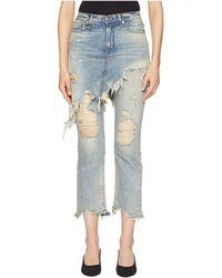 R13 - Double Classic Shredded Hem (leyton Blue Wash) Women's Jeans - Lyst