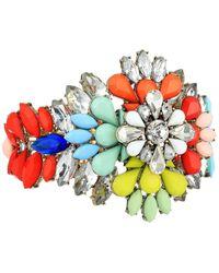 Steve Madden - Floral Jeweled Cuff Bangle (gold/blue/red) Bracelet - Lyst