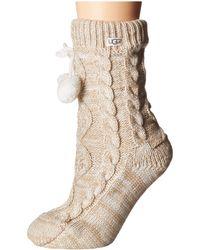 UGG - Pom Pom Fleece Lined Crew Sock (port) Women's Crew Cut Socks Shoes - Lyst