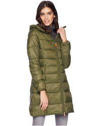 Save The Duck - Long Hooded Basic (dusty Olive) Women's Coat - Lyst