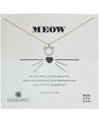 Dogeared - Meow, Cat Head Necklace (silver) Necklace - Lyst