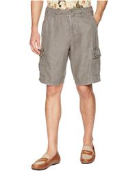 True Grit - Textured Linen Vintage Washed Cargo Shorts With Stitch Details - Lyst