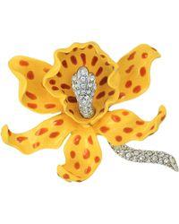 Kenneth Jay Lane - Yellow Orchid Brooch - Lyst