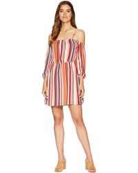 Jack BB Dakota - Eternal Sunshine Sunset Stripe Printed Crepe De Chine Off The Shoulder Dress (ivory) Women's Dress - Lyst