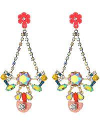 Betsey Johnson - Colorful Floral Chandelier Earrings (multi) Earring - Lyst