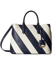 8fc1cd0bed Lauren by Ralph Lauren - Diagonal Stripe Marcy Satchel Large (navy vanilla)  Handbags