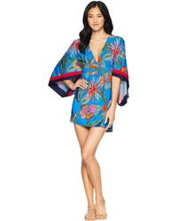 7154ef909272 Trina Turk - Tahiti Tropical Tunic Cover-up (pacific Blue) Women s Swimwear  -