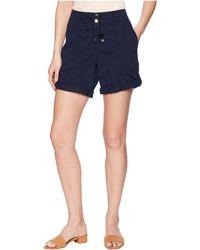 Lauren by Ralph Lauren - Cotton Twill Drawstring Shorts (navy) Women's Shorts - Lyst