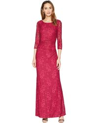 Marina - Long Sleeve Glitter Lace Dress With V Drapped Back And Side Shirring (ruby) Women's Dress - Lyst