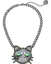Betsey Johnson - Cat Pendant Necklace (black) Necklace - Lyst