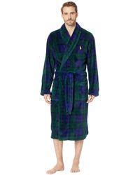 Polo Ralph Lauren - Microfiber Plush Long Sleeve Shawl Collar Robe (cruise Navy/basic Gold Pony Print) Men's Robe - Lyst
