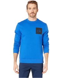 Calvin Klein - The Fleece Long Sleeve Crew Neck Printed Version (grey Night Heather) Men's Clothing - Lyst