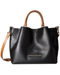 Dooney & Bourke - City Large Barlow (black/natural Trim) Satchel Handbags - Lyst