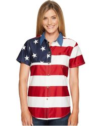 Roper - S/s Stars And Stripes Pieced Flag (red) Women's Short Sleeve Button Up - Lyst