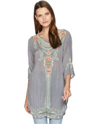 Johnny Was - Olive Blossom Tunic (cloudburst) Women's Blouse - Lyst