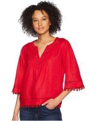 Lauren by Ralph Lauren - Lace-trim Tissue Linen Top (lipstick Red) Women's Short Sleeve Pullover - Lyst