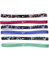 Nike - Printed Headbands Assorted 6-pack (black/wild Cherry/black) Headband - Lyst