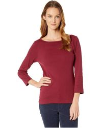 Three Dots - Essential British Neck 3/4 Sleeve Top (garnet) Women's Clothing - Lyst