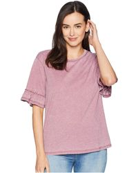 Dylan By True Grit - Bowery Burnout Ruffle Short Sleeve Tee (vintage Cabernet) Women's T Shirt - Lyst
