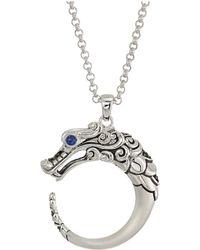 John Hardy - Legends Naga Brushed Pendant Necklace With Gemstone (brushed Silver) Necklace - Lyst