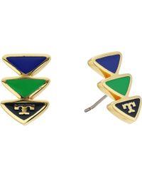 Tory Burch - Geo Triangle Stud Earrings - Lyst