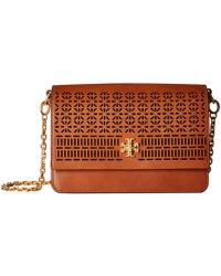 Tory Burch - Kira Perforated Shoulder Bag (classic Tan) Shoulder Handbags - Lyst