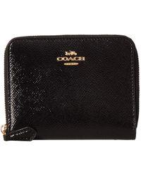 COACH - Small Zip Around In Crossgrain Patent Leather (li/oxblood) Wallet - Lyst