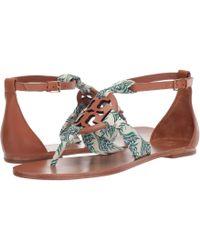7cb49122d Tory Burch - Miller Scarf Sandal (tan blue Meridian) Women s Shoes - Lyst