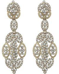 Nina - Jules Glamorous Statement Swarovski Earrings (rose Gold/silk) Earring - Lyst