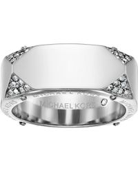 Michael Kors - Brilliance Banded Ring With Logo And Pave Crystal - Lyst