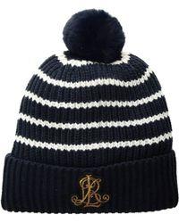 Lauren by Ralph Lauren - Rib Logo Patch Hat (black) Cold Weather Hats - Lyst