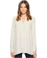 Eileen Fisher - Silk Georgette Crepe Stand Collar Top - Lyst