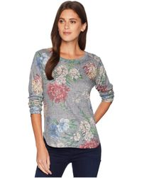 Nally & Millie - Long Sleeve Floral Houndstooth Top (multi) Women's Clothing - Lyst