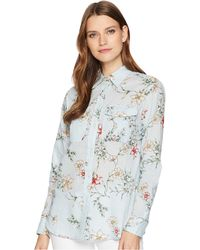 Lauren by Ralph Lauren - Floral Cotton Shirt (blue Multi) Women's Clothing - Lyst