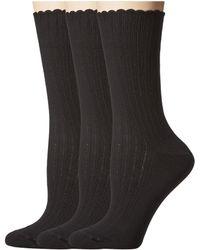 Hue - Scalloped Pointelle Socks 3-pack (white Solids) Women's Crew Cut Socks Shoes - Lyst