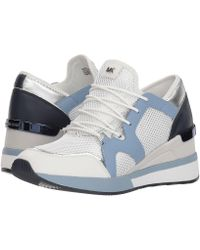 MICHAEL Michael Kors - Liv Trainer (optic/plum Blue Metallic Nappa/net Mesh/vachetta) Women's Shoes - Lyst
