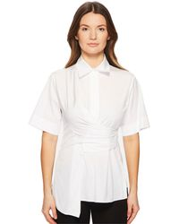 Sportmax - Fauno Wrap Front Button Up Short Sleeve Top - Lyst