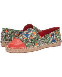 fec18537810c Tory Burch - Color Block Flat Espadrille (ivory black Leather) Women s Shoes  -