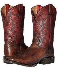 Stetson - 11 Double Welt Wide Square Toe (antique Honey Cow Leather/vintage Red) Cowboy Boots - Lyst